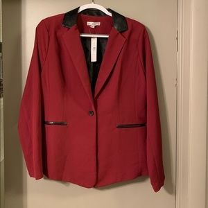 Burgundy blazer with faux leather accents